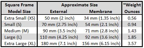 Floating Frame 2-Sided Display Case Sizes